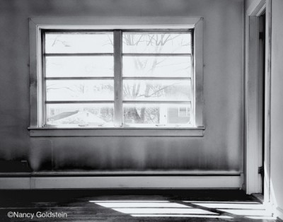 B/W photo, deserted house, empty room with picture window