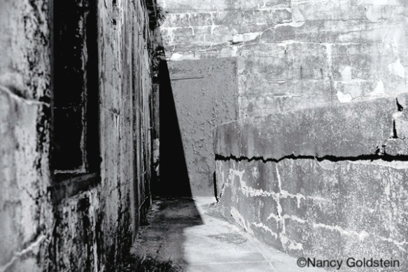 Black and white image of an abandoned US Army post